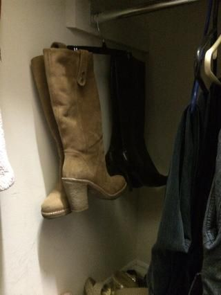 Great way to store boots during spring/summer and also helps to keep the boots straight/keep it's shape.