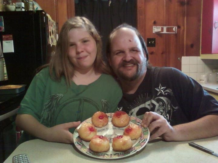 Me and my neighbor Emily baking pineapple upside-down cake