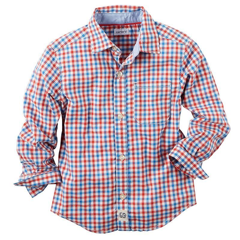 5 Carters Boys 4-8 Long Sleeve Button-up Shirt Red
