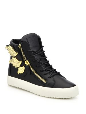 76938f2d9118a GIUSEPPE ZANOTTI Triple Wing Leather High-Top Sneakers. #giuseppezanotti # shoes #sneakers