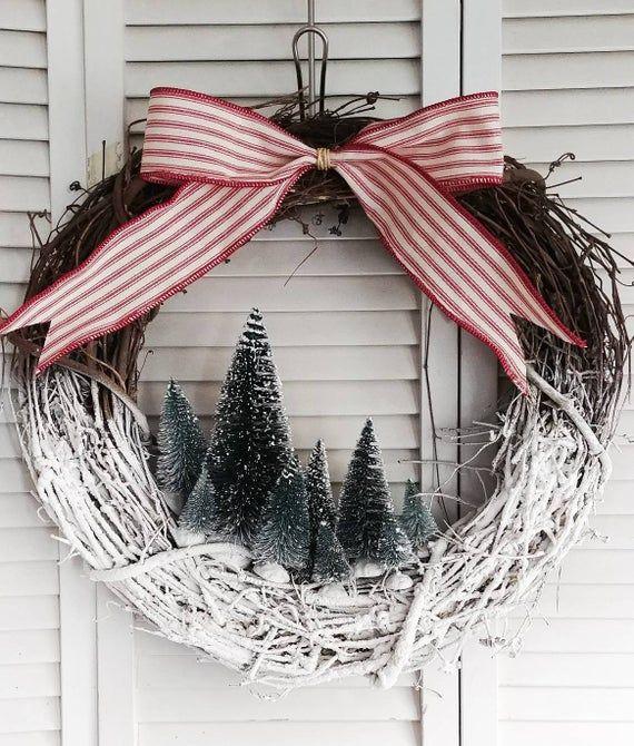 Photo of Winter wreath. Christmas tree wreath. Village Christmas decor. Rustic holiday wreath. Bottle brush tree decor.  Front door winter wreath.