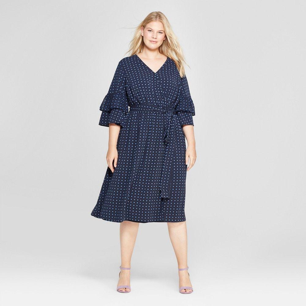 2f6c035782f33 Women's Plus Size Printed Ruffle Sleeve Wrap Midi Dress - Ava & Viv Navy  1X, Blue