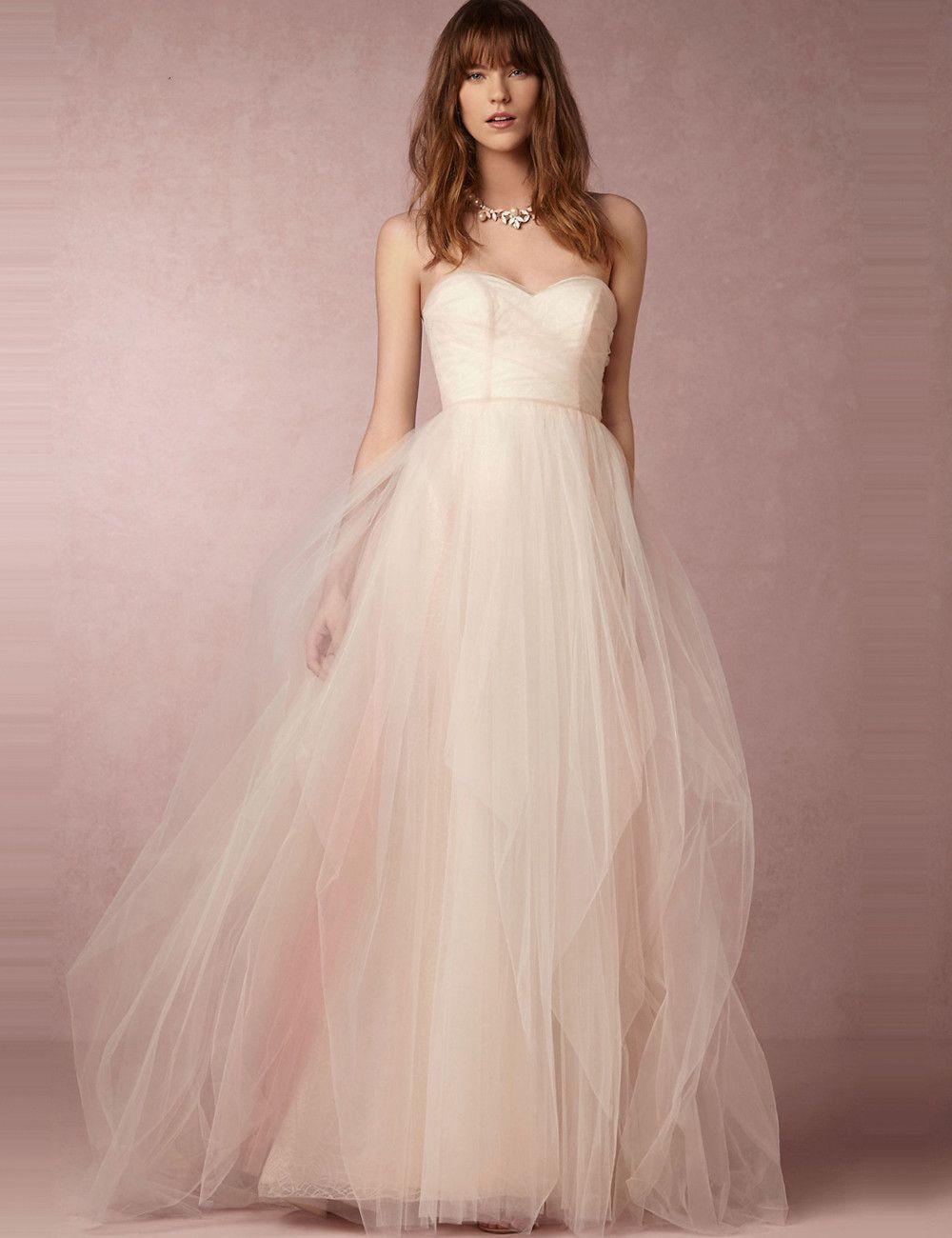 Boho sweet blush strapless low back boho style wedding dress