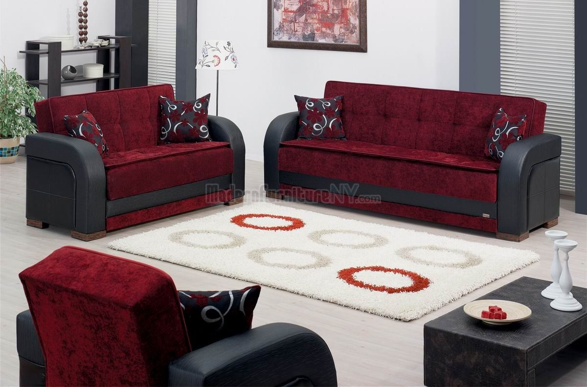 High Quality Maroon Furniture | Burgundy Fabric U0026 Black Vinyl Modern Two Tone Sofa Bed  W/ · Red Living Room ... Part 14