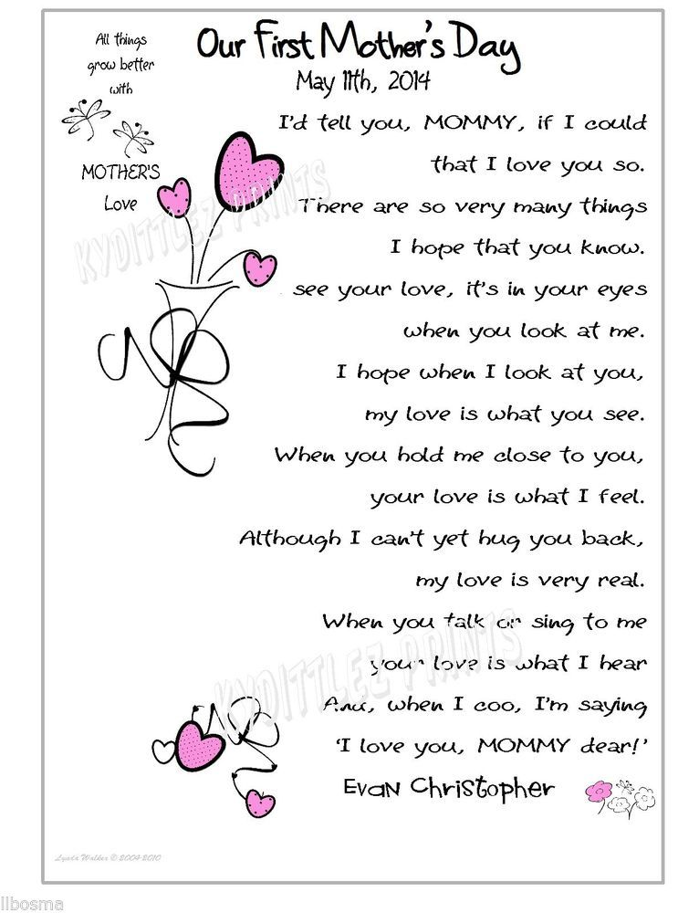 Baby 1st Mothers Day Gift My Love For Mommy Poem Frameable Card