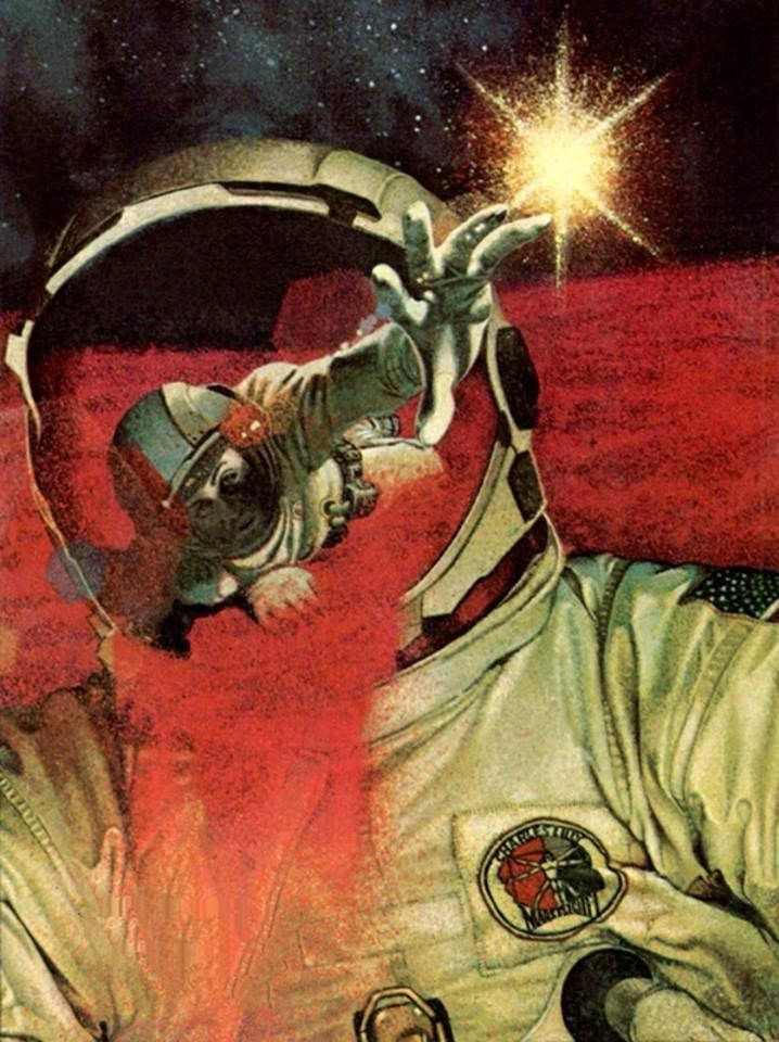 """70sscifiart: """"Uncredited, 1968 """" cover of the 1975 edition of The Earth is Near by Luděk Pešek the art is by Charles Lilly (check the patch on the astronaut's suit)"""