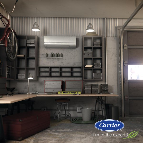 Carrier's Ductless System is perfect for the garage