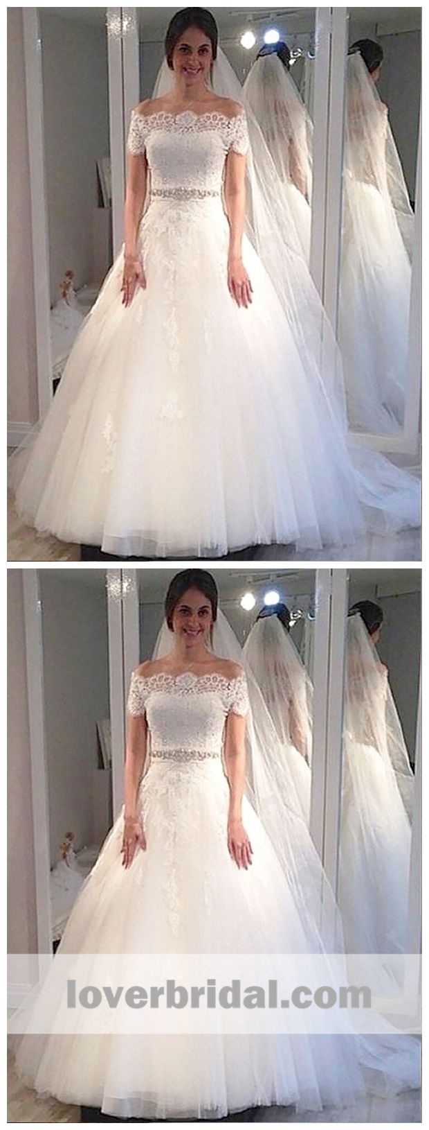 Cheap wedding dresses with sleeves  Off Shoulder Short Sleeves Lace Beaded A line Cheap Wedding Dresses
