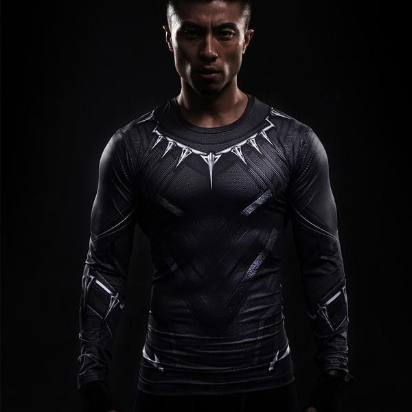 ventilación Abrasivo Murmullo  Black Panther 3D Long Sleeve | Super hero shirts, Compression t shirt, Compression  shirt