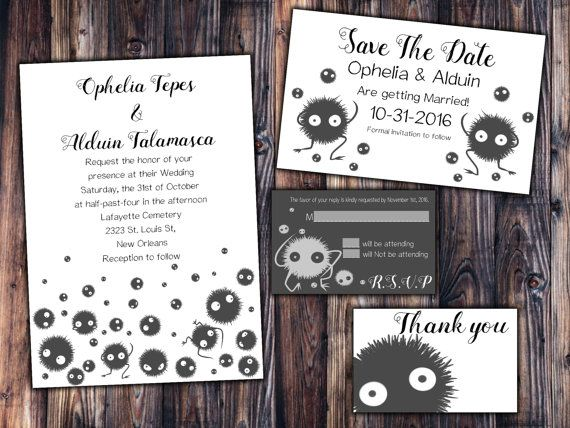 Totoro Soot Sprite Wedding Invitation Save the Date RSVP and