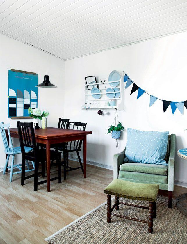Fris gezellig interieur met veel blauw! | Pinterest