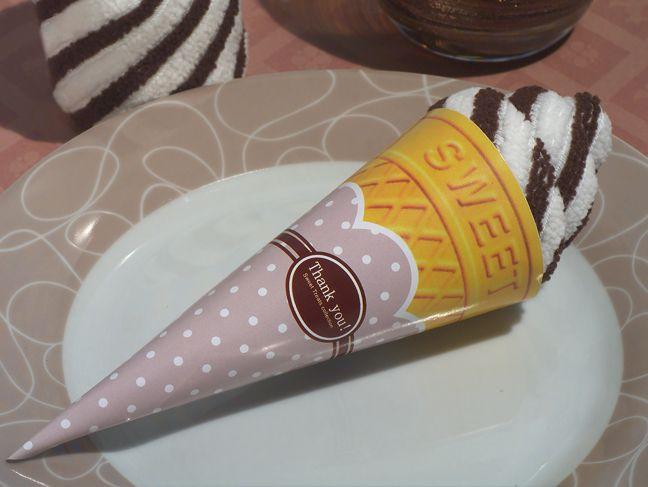 Sweet Treats Collection Chocolate Swirl Ice Cream Cone Towel Favor