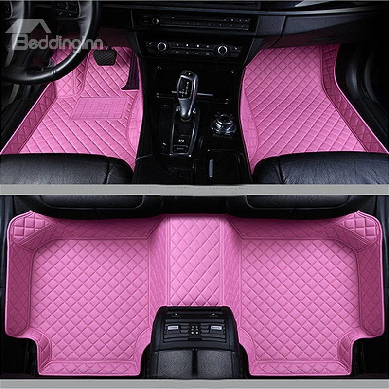 Durable Leather Grid Line Design Bright Coloured Durable Custom Fit Car Floor Mats Fit Car New Car Accessories Cute Car Accessories