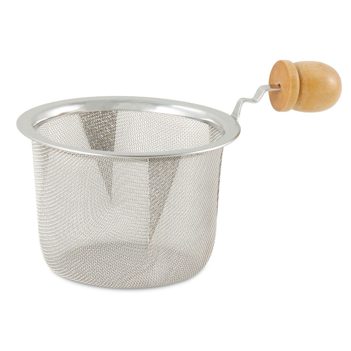 2.5in Diameter Stainless Steel Mesh Strainer with Wooden