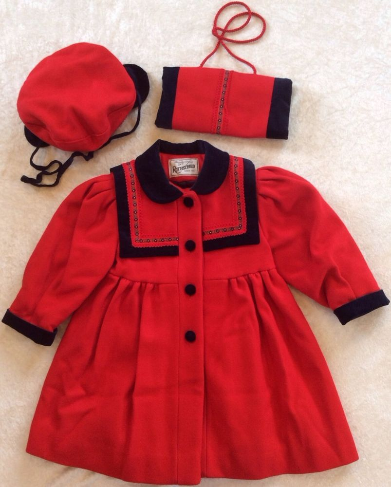 Rothschild Vintage Coat 3T Red Wool Blend Navy Trim Hat Earflaps ...