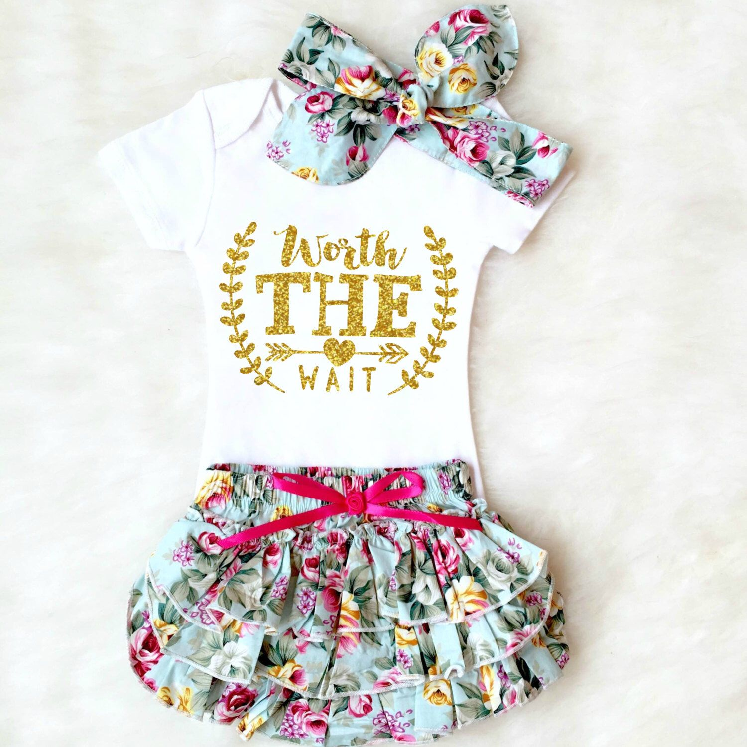 Baby Shower Gift Worth the Wait Outfit Baby Girl ing Home Outfit