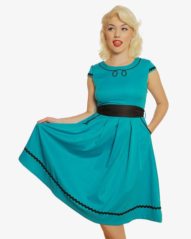 6b58ecddaff1 'Bethany' Teal Swing Dress   Vintage Inspired Fashion   Lindy Bop. '