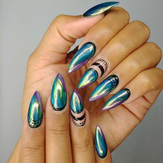 Ruffian chrome nails with negative space art by MisAshton | Nails ...