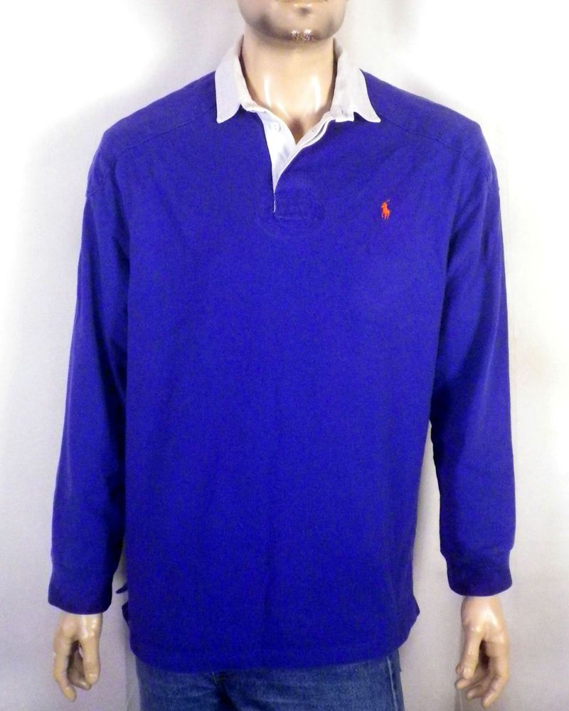 vtg 90s Polo Ralph Lauren Heavy Cotton Padded Rugby Shirt Jersey Pony sz L