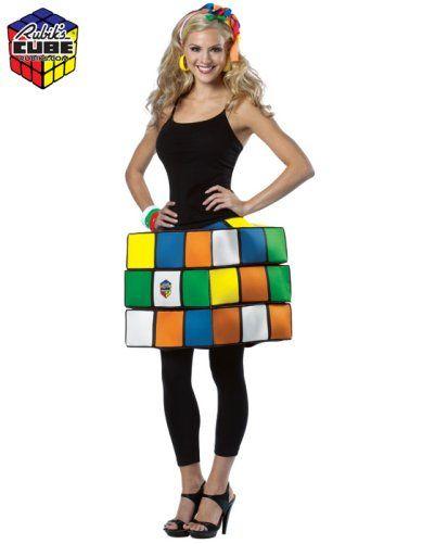 Ladies 80s 80/'s 1980s Rubiks 3D Cube Fancy Dress Costume Dress by Smiffys New