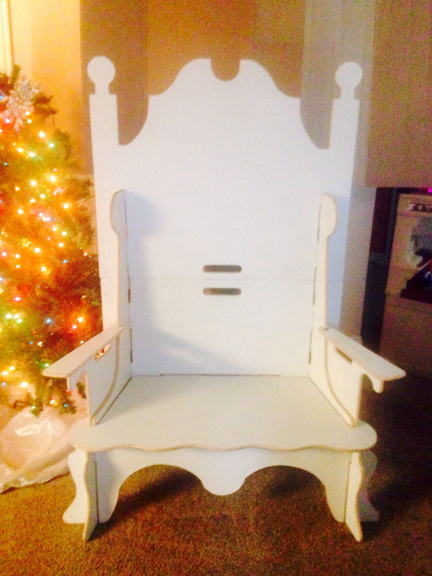 Fully assembled santa bench with all newest features and revised header and cross brace designs