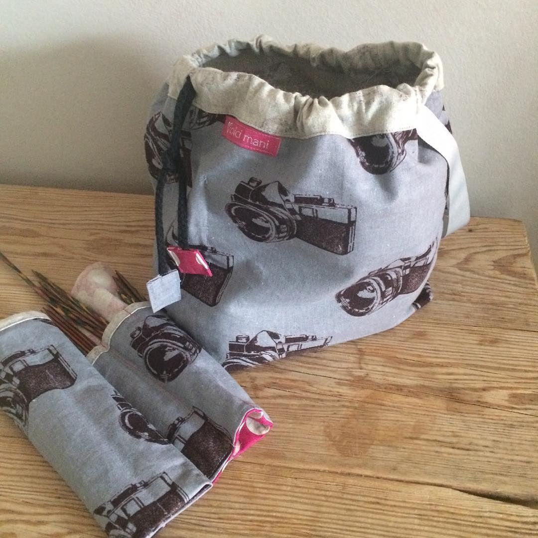 #strikking er gjort reiseklar #imakebags #voksnesygale #projectbag knitting ready to go