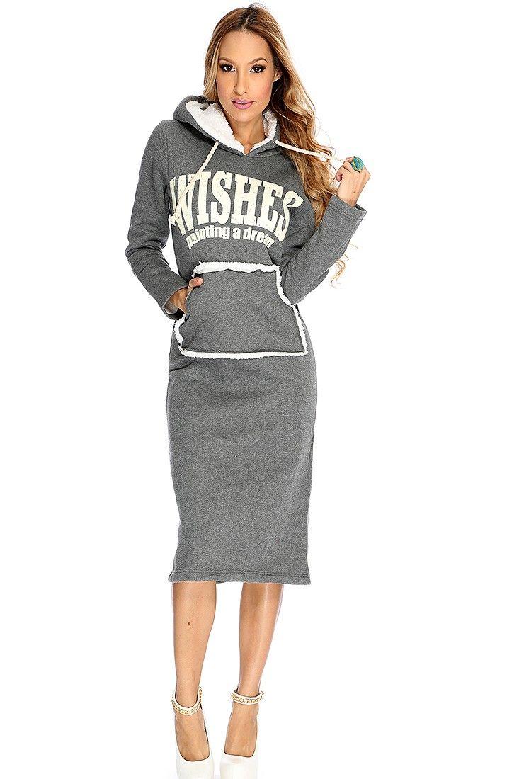 Grey Printed Long Sleeve Hoodie Sweater Dress   Sweater design ...