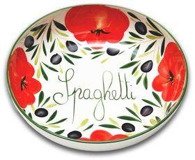 ca 36 cm runde Pastasch/üssel ca Lashuma handgemachte Nudelschale aus Italienischer Keramik im Tomatendesign 7 cm tief