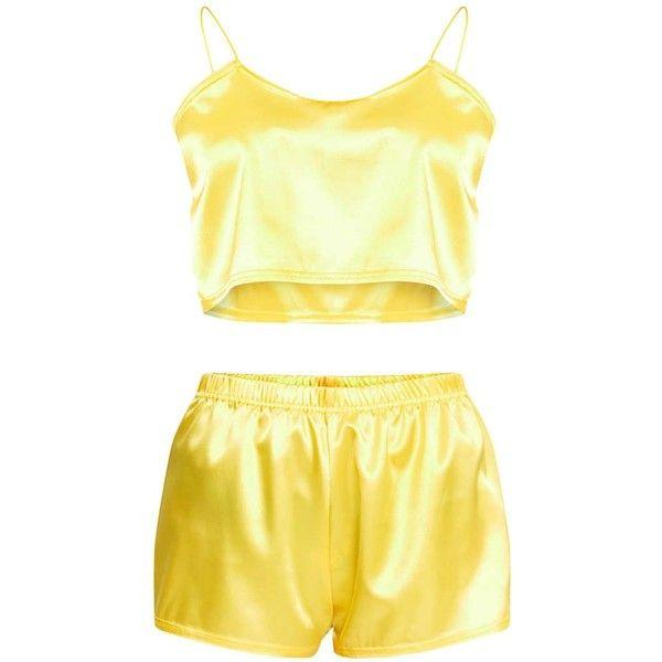 e17f28fe3c Yellow Satin Pyjama Shorts Set ( 23) ❤ liked on Polyvore featuring  intimates