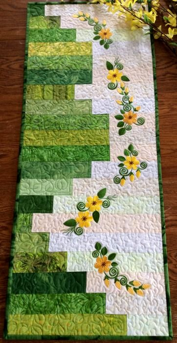 Sunny Days Quilted Table Runner with machine embroidery - Advanced Embroidery Designs