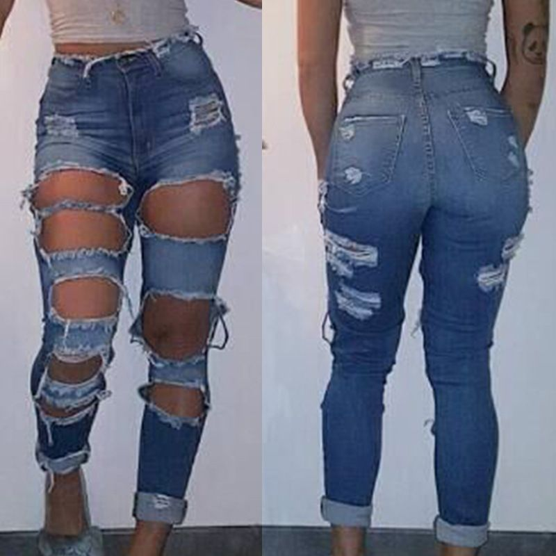 94644a0a74a Best Price Casual Style Ripped Jeans for Women with Broken Hole NZ6339