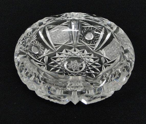41e1dfe4d84 Vintage American Brilliant Crystal Cut Glass Ashtray Ash Tray ...