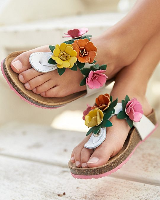 fd8b4213f Girls  Embellished Leather Thong Sandals