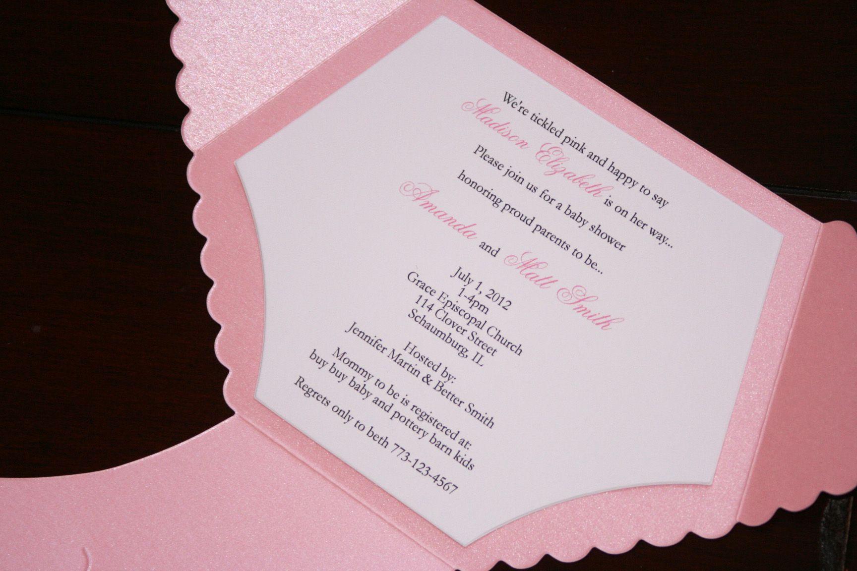 Neutral White Metallic Die Cut Diaper Invitation   Too Chic & Little ...