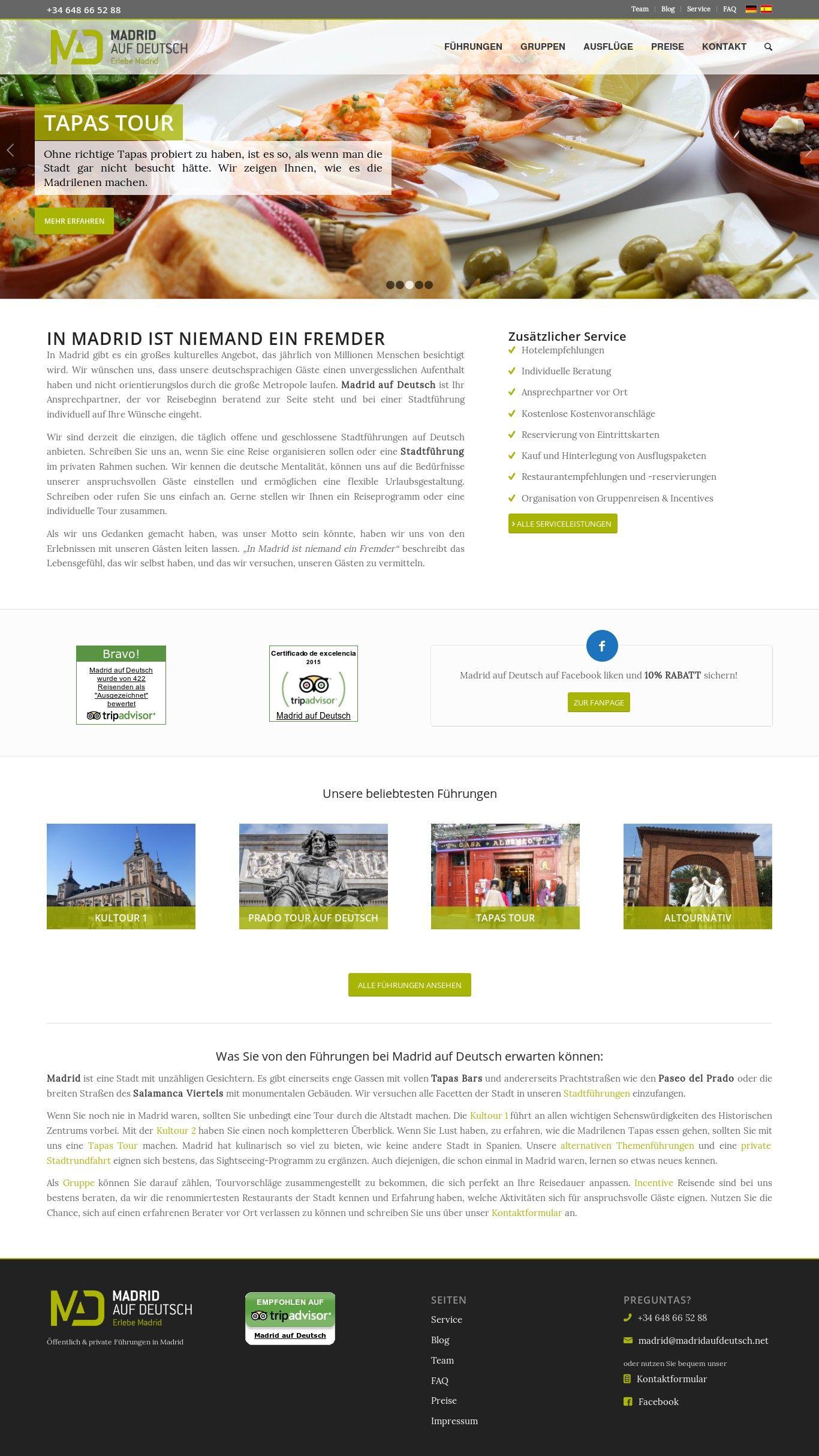 WordPress site madridaufdeutsch.net uses the Wordpress template ...