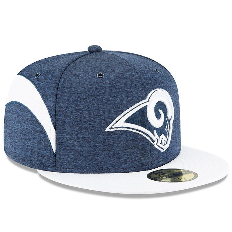 best cheap 8355f 01cc6 Los Angeles Rams New Era 2018 NFL Sideline Home Official 59FIFTY Fitted Hat  – Navy White