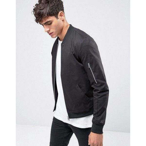 82388684 ASOS Muscle Fit Bomber Jacket With Sleeve Zip in Black (170 AED) ❤ liked on  Polyvore featuring men's fashion, men's clothing, men's outerwear, ...