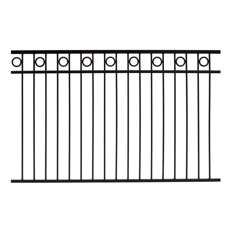 Gilpin Actual 5 75 Ft X 6 Ft Deco Black Steel Spaced Picket