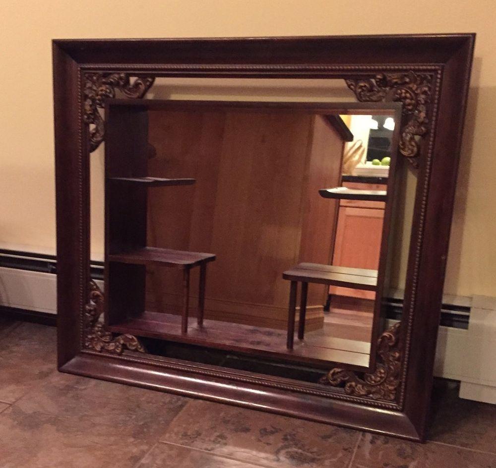 Vintage Wood Mirrored Hanging Shelf