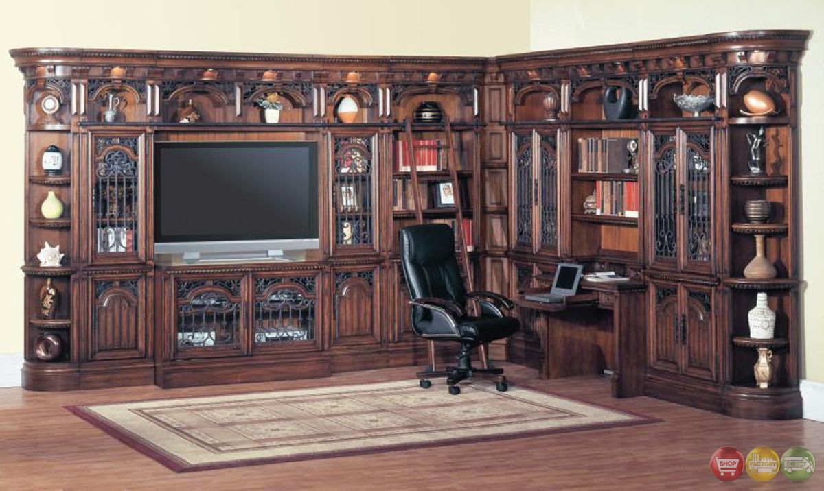 Parker House Barcelona 12 pc Library TV Entertainment Center Wall ...