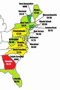 2015 Minimum wage by states on the east coast. South Carolina and New Hampshire don't have a minimum wage.