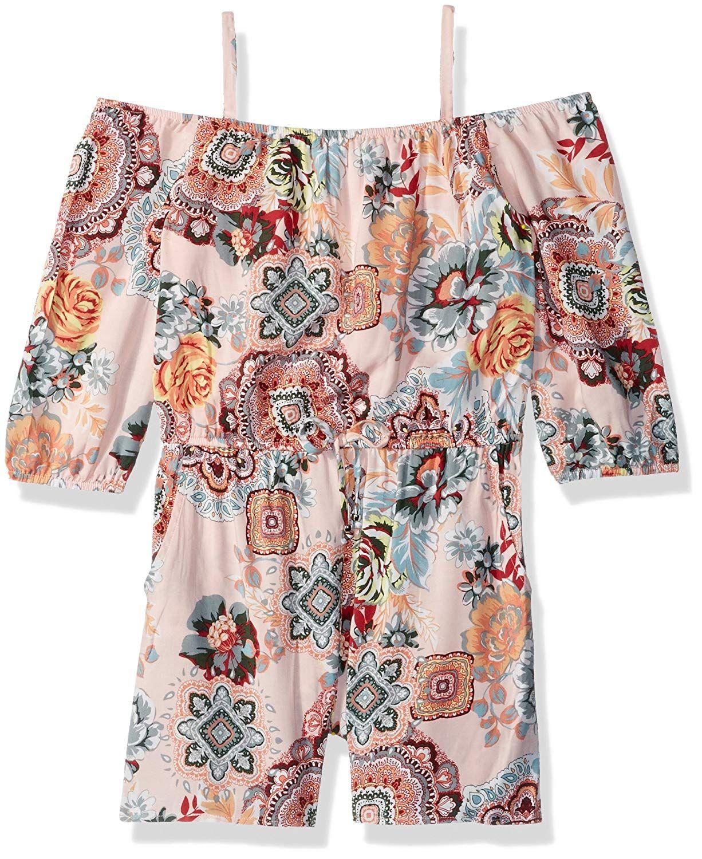 2377b7ce059d Amy Byer Girls  Big Long Sleeve Off Shoulder Print Romper