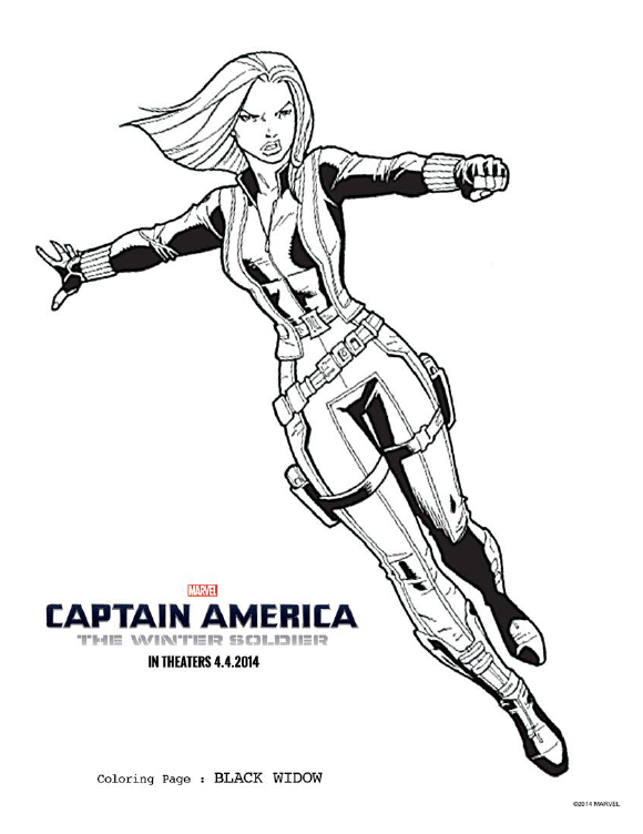 black widow coloring page captainamericaevent captainamerica captain ameica