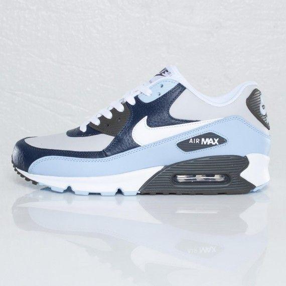 Nike Air Max 90 Boys' Grade School Running Shoes Deep Royal BlueWhiteLight CrimsonObsidian sku:4882401