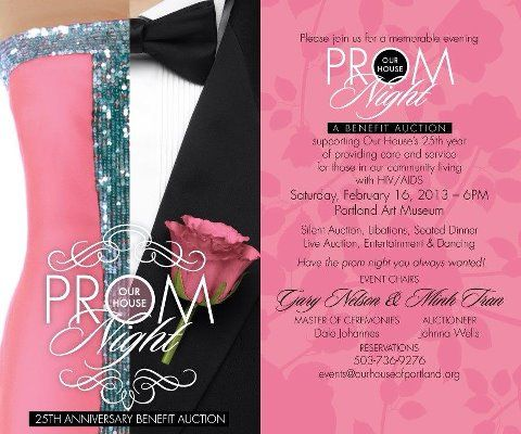 Pretty theme for fundraising event - Prom Night for Our House - fundraiser invitation