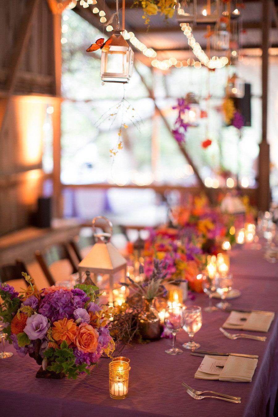 Barn wedding table settings  Santa Barbara Wedding at Dos Pueblos Ranch from Michael u Anna Costa