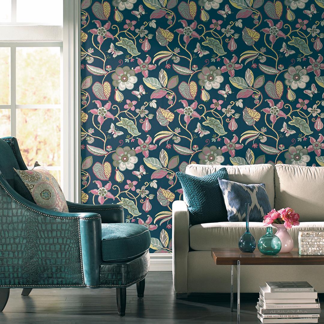 Sea Floral Wall Covering By Nilaya Blue Floral Wallpaper Wall