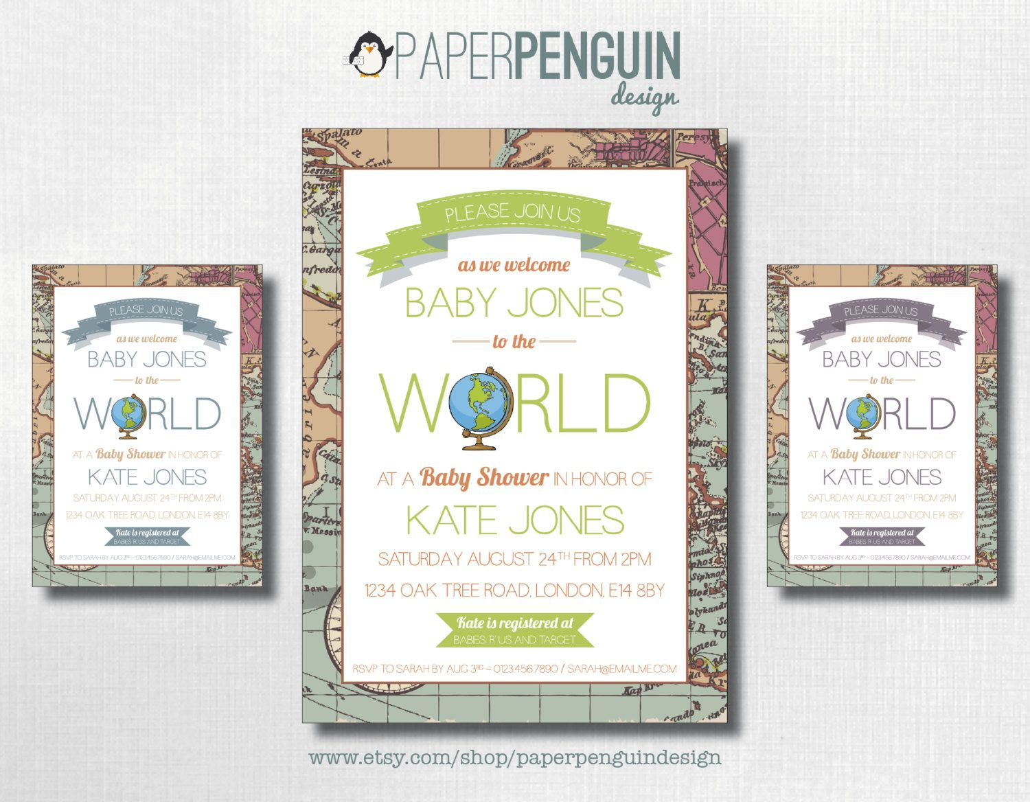 Welcome to the World Baby Shower Invitation- thinking mint and grey ...