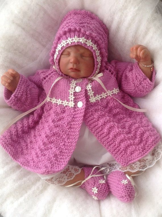 Baby Knitting Pattern #52 TO KNIT Girls Reborn Dolls Clothes Matinee Set DK Yarn