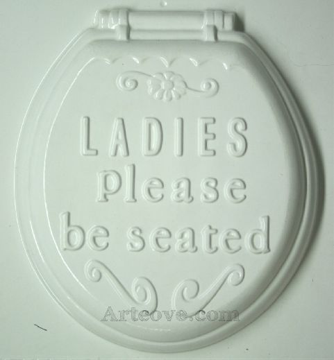 Ladies Be Seated Toilet Seat Plaster Mold 8.5 X 9.5 Inch. Mix ...